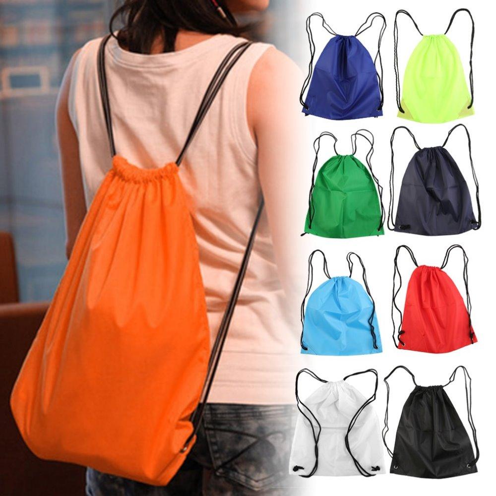 Classic Waterproof Strong Nylon Cord Carry Handles Premium School Drawstring Duffle Softback Bag Sport Gym Swim Dance Shoe Backp