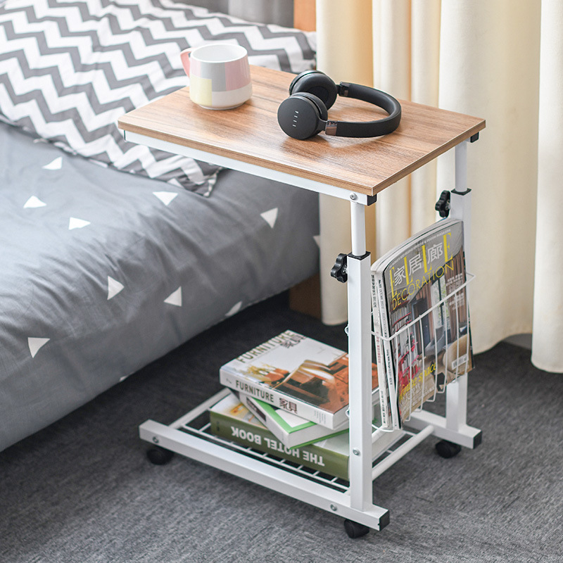 Liftable Laptop Desk Sofa Side End Table For Office Coffee Table Magazine Shelf Small Table Beside Bed Tea Table Movable