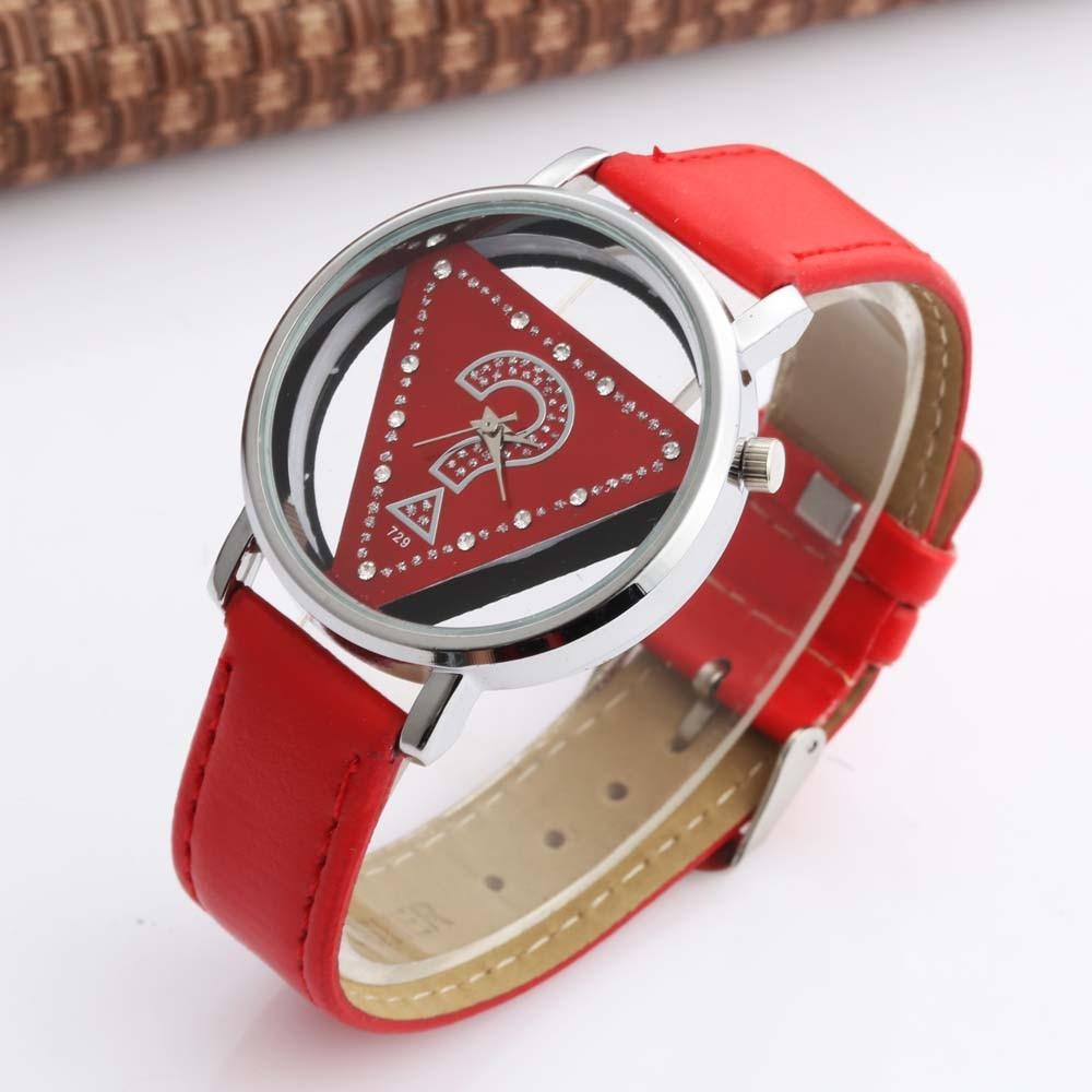 WOMAGE Fashion Women Watches Elegant Hollow Triangle Watch Women Leather Women's Watches Quartz Reloj Mujer Bayan Kol Saati
