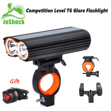 Joshock USB Bike Light 2x XML-L2 LED 24000Lm Headlight 2 Battery T6 Leds  Cycling Lamp Lantern Flashlight With Free Tail light. 10000lm 3x xml t6 led 4 2v adjust angle front bicycle light usb bike lamp headlight with battery back tail light set