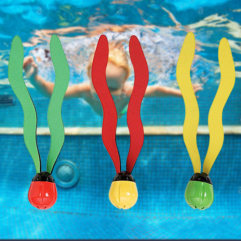 3 PCS Diving Toys Game Water Grass Diving Swimming Game Toys Swimming Pool Underwater Fun Balls Diving Toys Accessories Diving