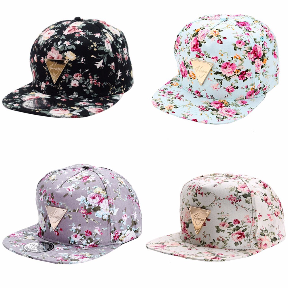 Men Women   Baseball     Cap   Hip Hop   Caps   Floral Flower Snapback Hat Hip-Hop Flat Adjustable   Cap   Sun Hats For Boy Girl Fashion