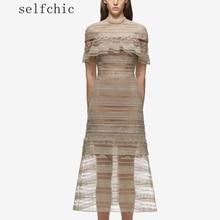 Self Portrait длинное платье 2017 Для женщин Вечеринка длинные Кружево Платья для женщин