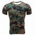 Homens apertado de manga curta T-shirt Camuflar verão encabeça tee roupas de fitness calças justas quick-secagem elástica de compressão tshirts