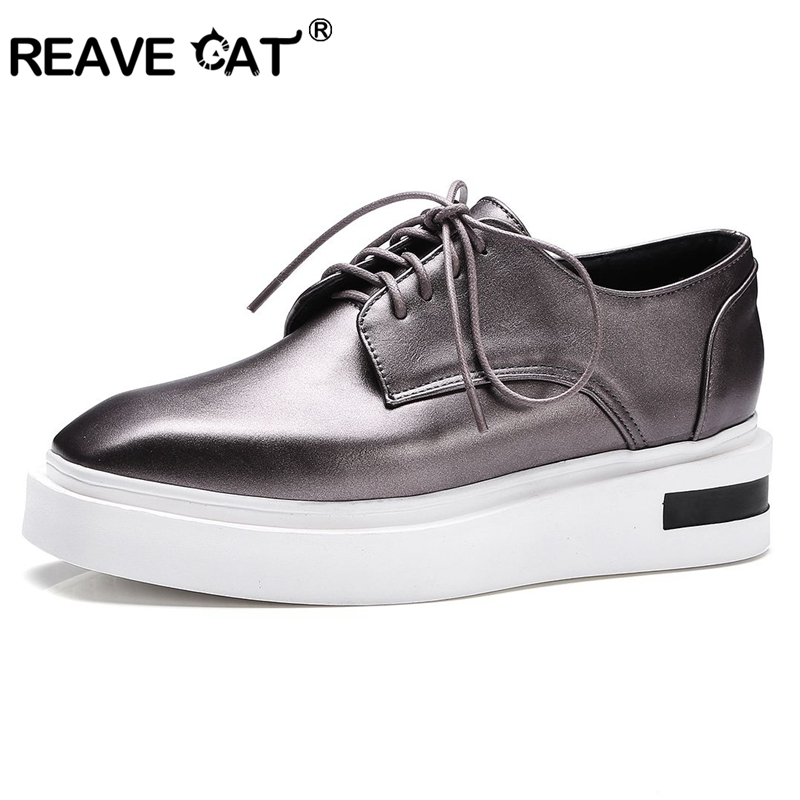 REAVE CAT women shoes Platform flat Shoes Spring Autumn Lace Up Ladies flats Cross tied Fashion Bling Mujer Shoes Zapatos RL3474 odetina 2017 new designer lace up ballerina flats fashion women spring pointed toe shoes ladies cross straps soft flats non slip