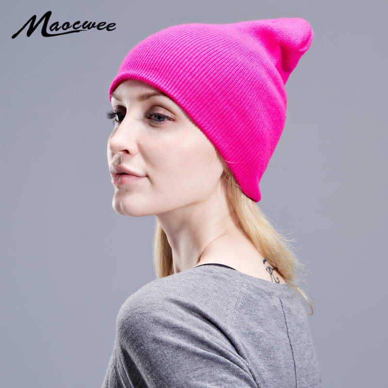 dbb315702 Autumn Winter Solid Black Beanie Hats Solid Ski Hat Knitted Skuilles  Beanies Women Men Lady Unisex Plain Warm Soft Bone Cap 2018