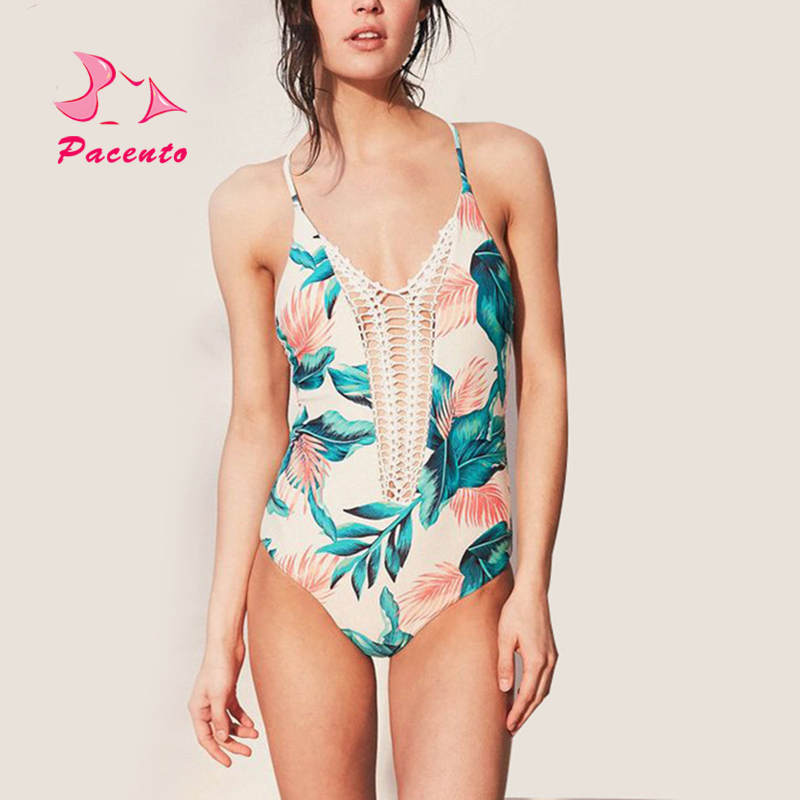 Pacento One-Piece Suits Print Hollow Out One Piece Swimsuit Plus Size Swimwear Women One Piece Sport Zipper Monokini Plavky May pineapple print one piece swimsuit