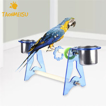 Acrylic Wood Food Tray Climb Stand Bird Toys Training Bird Toys Size S/M 1pcs