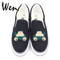 Wen Slip On Shoes Black White 2 Colors Design Custom Poekmon Snorlax Anime Canvas Sneakers For