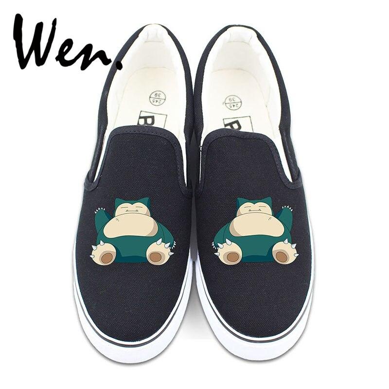 Wen Slip On Shoes Custom Anime Poekmon Cute Snorlax Canvas Sneakers for Man Woman Design White Black 2 Colors wen pierce the veil design custom hand painted shoes for man woman white slip on canvas sneakers