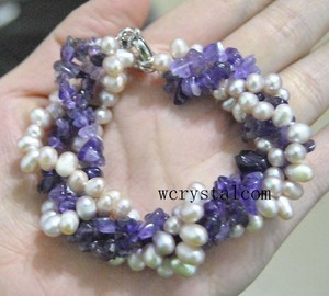 4 Strands Purple Cultured Pearl Amethyst Bracelet