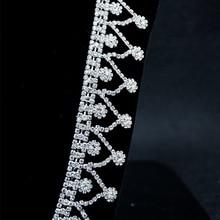 10Yards Bridal Wedding Silver Tassel Rhinestones Chain Applique Craft Diamante