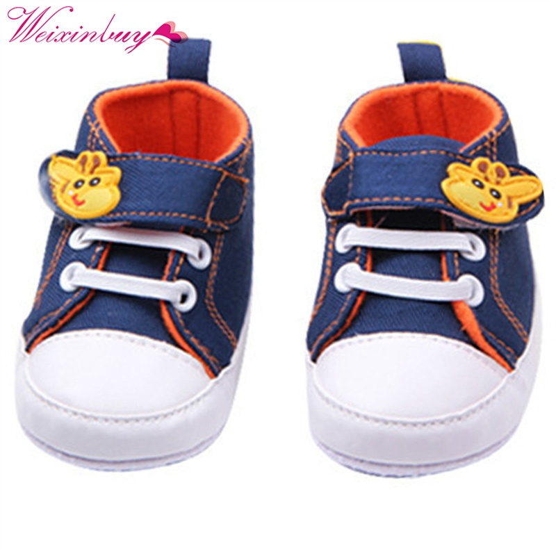 Baby Shoes Boys Giraffe Canvas Anti-slip Infant Soft Sole Baby First Walker Toddler Shoes