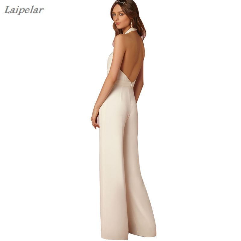 Laipelar Sexy Backless Jumpsuits Romper Women Long V neck Sleeveless Bodycon Jumpsuit Party Elegant Wide Leg Pant Body Femme in Jumpsuits from Women 39 s Clothing