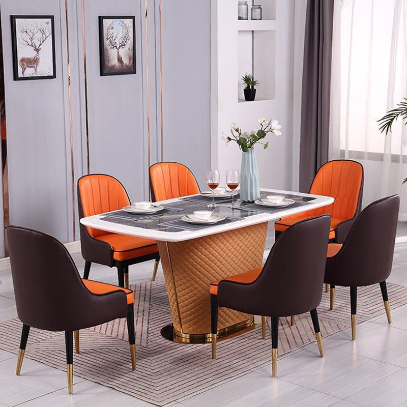Postmodern Light Luxury Hong Kong Style Marble Dining Table Rectangular One Table Six Chairs Combination Modern Simple Dining Ta Dining Tables Aliexpress