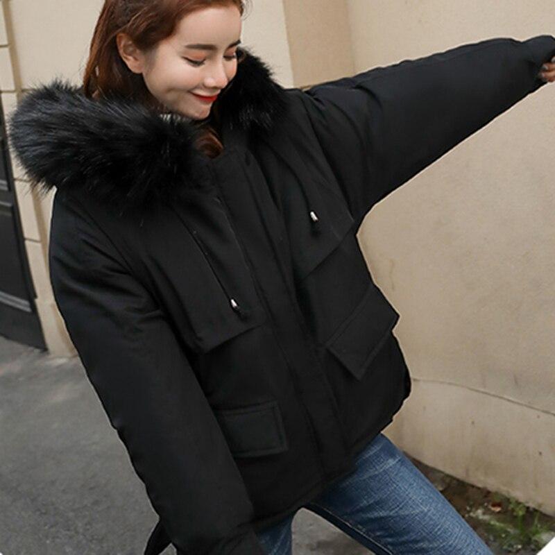 Capuchon Loose Fit Super Mode Épais Graisse Outwear Parkas noir Pinno Simple Chaud Dames Noir J Fourrure bleu Couleurs Beige Ciel Veste pu Doux À De Rose 4 Femmes U7Tq00f