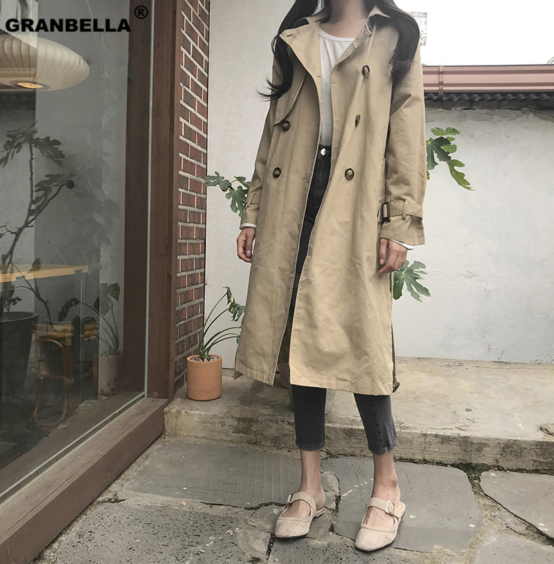 Spring Women Khaki Chic Cloak   Trench   2019 New Highstreet Workwear Double Breasted Belted Long Coat Outwear