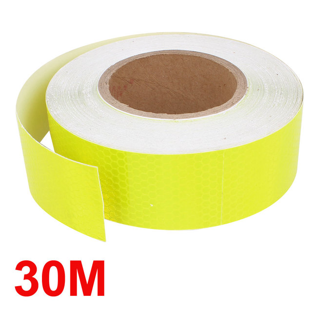 X Autohaux 25M Length 5Cm Width Safety Reflective Sticker Decal Sign Fluorescent Yellow For Auto Car