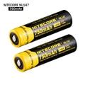 2 pçs/lote Nitecore NL147 14500 bateria 3.7 V 750 mAh 14500 li-ion bateria recarregável frete grátis