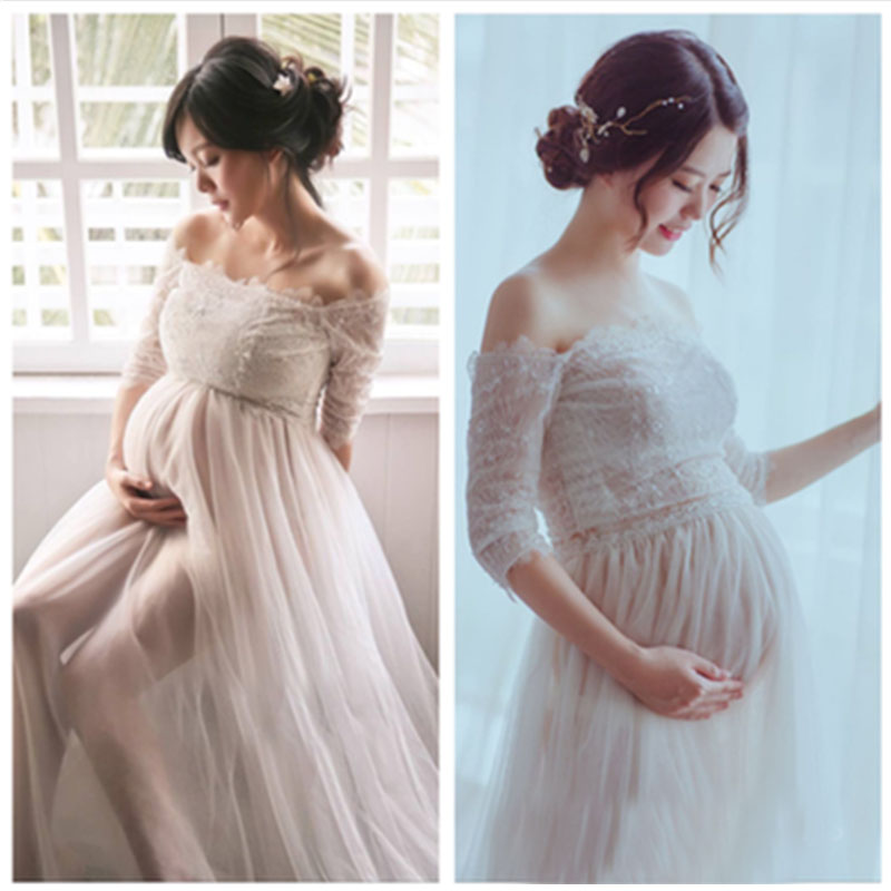 Lace Vestidos Maternity Photography Props White Pregnancy Dress Photography Maternity Dresses For Photo Shoot Pregnant Clothes maternity dress lace slash neck maternity dresses sleeveless maternity photography props for pregnant dress