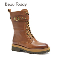 BeauToday Women Boots Mid Calf Genuine Cow Leather Round Toe Brand Buckle Lace Up Zipper Platform Shoes Top Quality 02301