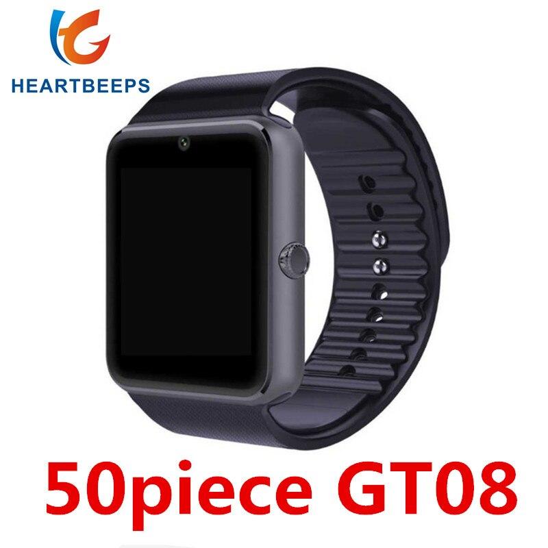 50 pièces GT08 montre intelligente horloge heures synchronisation notifiant Support SIM TF carte caméra connectivité Android téléphone Smartwatch