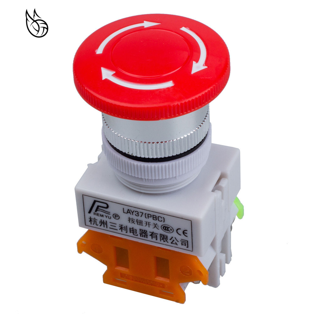 1PCS 220V//AC 10A Emergency stop button Switch 1NO+NC 22MM Twist to Release