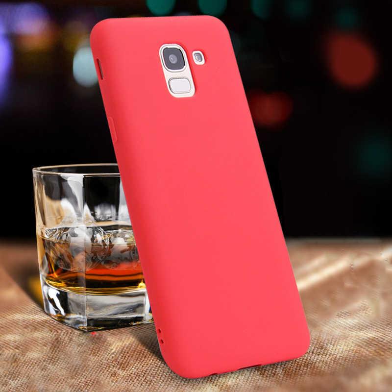 Colorful Matte Silicone Phone Case For Samsung Galaxy A7 2018 J6 J4 A8 A6 S8 S9 Plus J7 2018 S7 Edge Case Back Cover Soft Coque