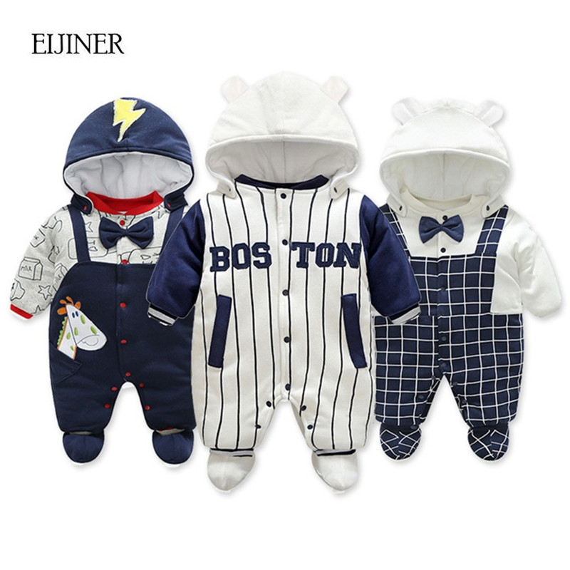2017 New Baby Rompers Winter Thick Warm Baby Boy Clothing Long Sleeve Hooded Jumpsuit Kids Newborn Baby Girl Rompers Outwear winter baby rompers organic cotton baby hooded snowsuit jumpsuit long sleeve thick warm baby girls boy romper newborn clothing