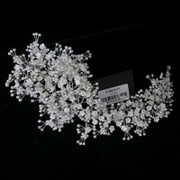 New Rhinestone Custom Made Pearl Flowers Crystal Tiara Headpiece Royal Bridal Wedding Dressing Crown Accessory Women Jewelry