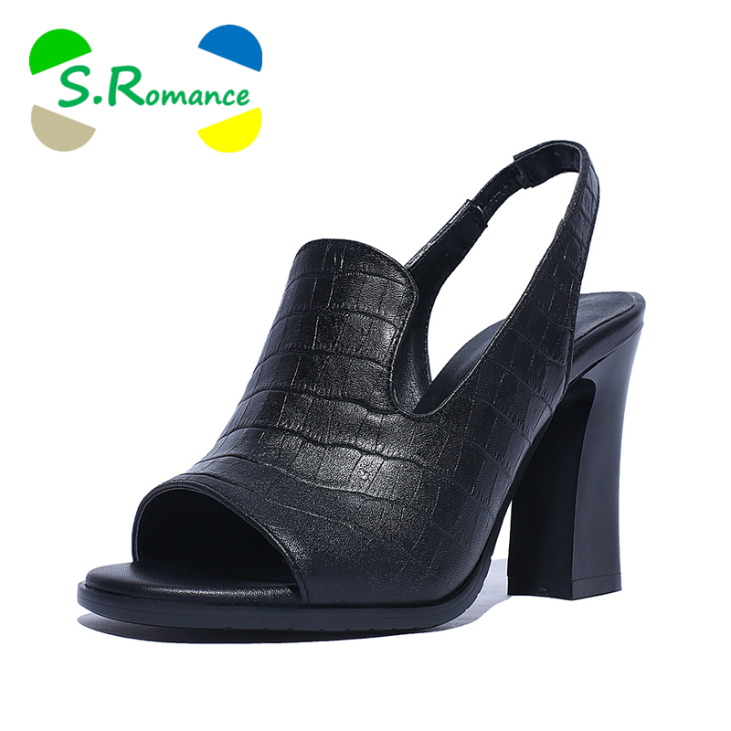 S Romance Women Sandals Genuine Leather Fashion High Heel New Arrival Office Lady Pumps Hot Sale