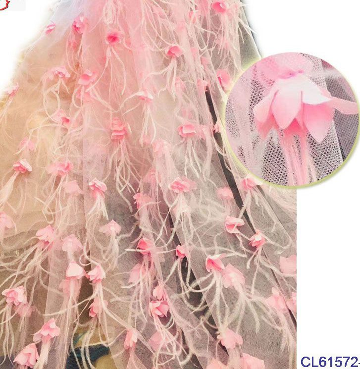 5yards off white/pink/light blue handmade 3D flowers feather wedding/evening dress lace fabric