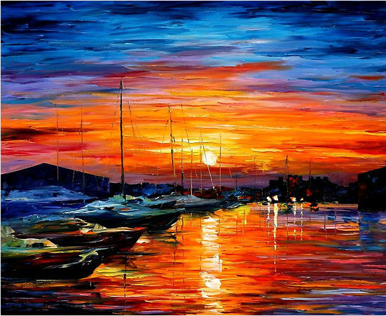 Handmade Mediterranean Landscape Oil Painting Sunset Sea