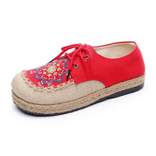 Spring original round head shoe female embroidery shoes refreshing breathable handmade hemp strap shoes woman casual shoes women все цены
