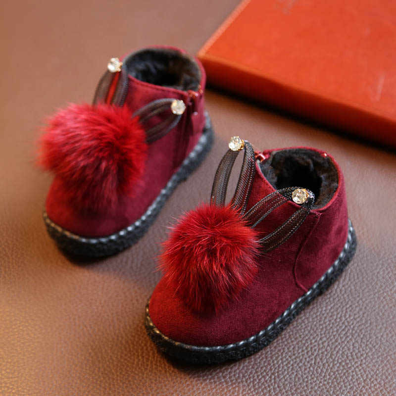 Baby Winter Cotton Shoes With Balls Soft Bottom Boots Antiskid Infant Toddler Shoes Children Velvet Princess Shoes