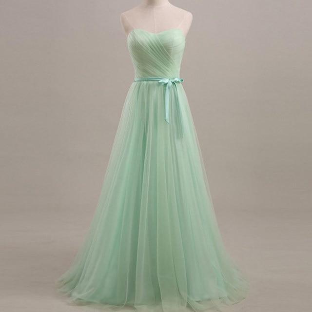 2016 Largo Pastel Menta Vestido de Noche fuera Del Hombro de Tulle Del Amor Del Banquete de Boda Del Vestido De Vestidos De Fiesta Vestido vestido de noiva