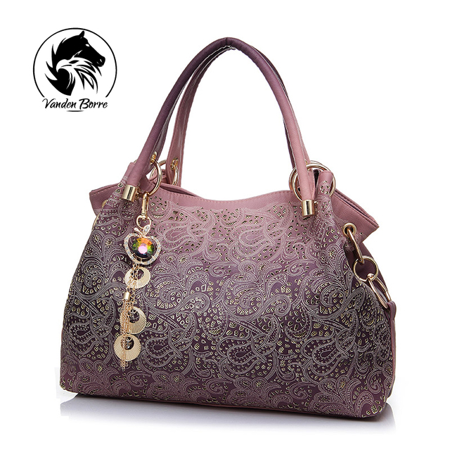 Nova marca designer de bolsas femininas sacos de bolsas de couro PU escavar gradiente de cor borla saco senhoras bolsa de ombro portáteis