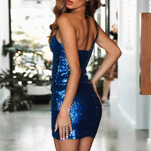Women Club Bodycon Sequin Mini Dresses One Shoulder Sleeveless Sexy Mini Dresses Backless Party Dress