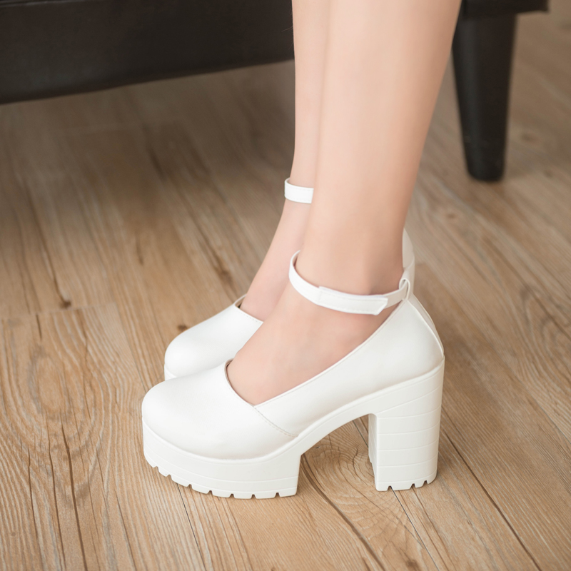 2016 Autumn Fashion Women Pumps Pu Leather Platform Thick Heels Shoes Ladies Round Toe Ankle Buckle Pumps Ladies Party Shoes xexy small square toe medium heels natural leather women shoe spring autumn buckle strap dance party sweet platform women pumps