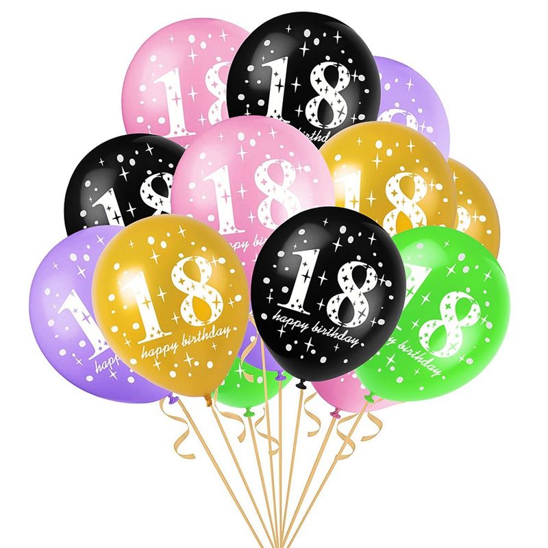 10pcs Happy <font><b>18th</b></font> <font><b>Birthday</b></font> Latex Balloons 18 Years Old Gold for Party Supplies <font><b>Birthday</b></font> Party Decorations Adult image
