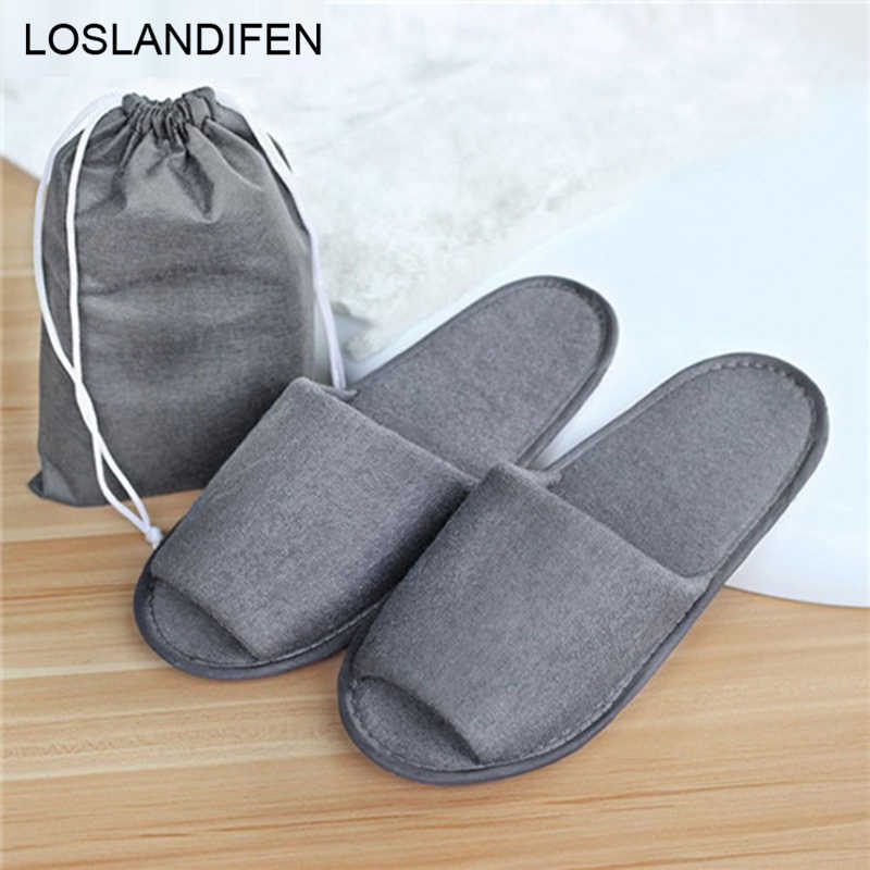 d28b078505da New Simple Slippers Men Women Hotel Travel Spa Portable Folding House  Disposable Home Guest Indoor Slippers