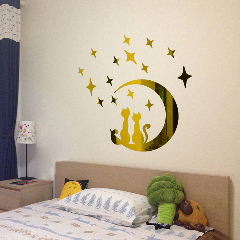 Stars Moon Sticker Beautiful 3d Diy Decal Art Acrylic Mirror Wall Stickers For Baby Kids Bedroom Decor Home Decoration Modern Acrylic Mirror Wall Sticker Moon Stickermirror Wall Stickers Aliexpress