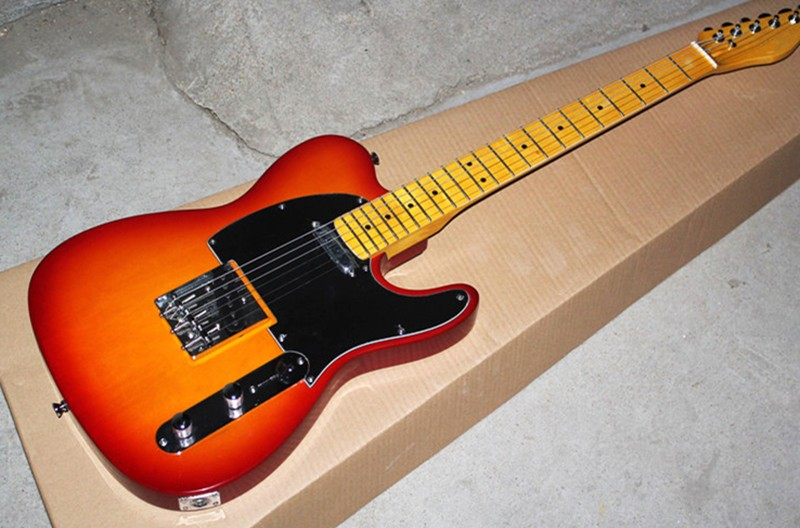 Factory Wholesale Red Body Electric Guitar with Black Pickguard,Yellow Neck, Offer Customized Factory Wholesale Red Body Electric Guitar with Black Pickguard,Yellow Neck, Offer Customized