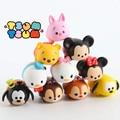 10 unids Tsum Tsum mini lot Minnie mouse Mickey mouse Winnie Dumbo figuras PVC muñecas 4 cm caja de color para los regalos envío gratis