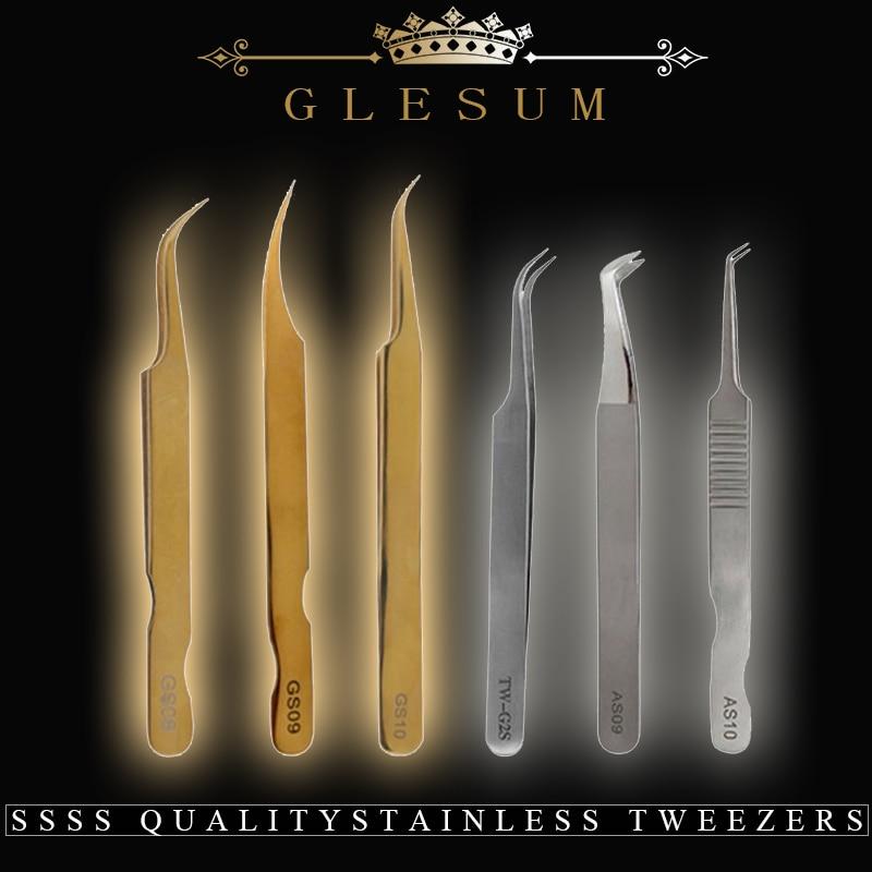Glesum SSSS Qualitystainless Volume lash Pinzette In Acciaio Inox Set Pinzette Delle Ciglia per Estensione Del Ciglio Dell'occhio di Trucco Strumenti