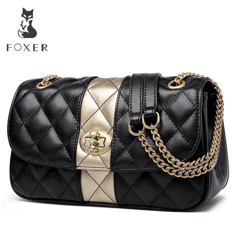 FOXER Women Chain Strap Messenger Bag Diamond Lattice Flap Lady High Quality Leather Ladies' Shoulder Bags Valentine's Day Gift-in Shoulder Bags from Luggage & Bags