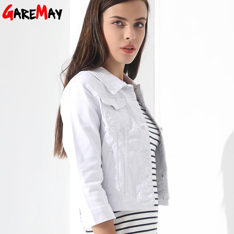 GAREMAY Basic Jeans Jacke Frauen White Spring Woman Denim Denim Damen - Damenbekleidung - Foto 4