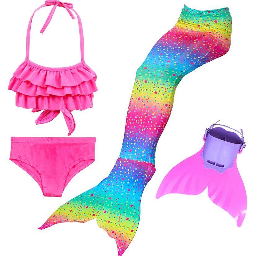 Princess Little Ariel Mermaid Tails for Swimming Costume Cosplay Mermaid Tail Girls Swimsuit Kid Children Swimmable Suit Monofin