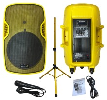 STARAUDIO Yellow PA 15″ 3500W Powered Active DJ Stage USB SD FM BT  Speaker W/ Stand Microphone SSYM-15
