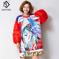2018 Spring Autumn Women Fashion Horse Anime Print Tops Female Big Long Sleeves Novelty Loose Ladies